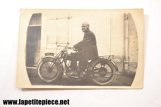 Carte postale - photo ancienne, moto