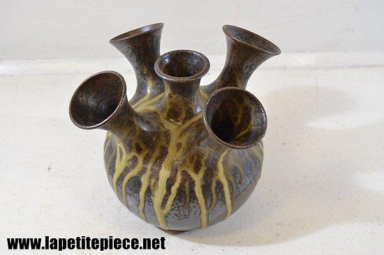 Vase pic-fleurs en grès glacé