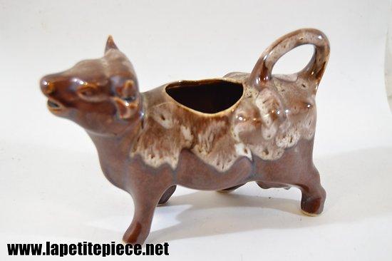 Pichet à crème / saucière en forme de vache - Grès flammé du Morvan - Petit-Massé