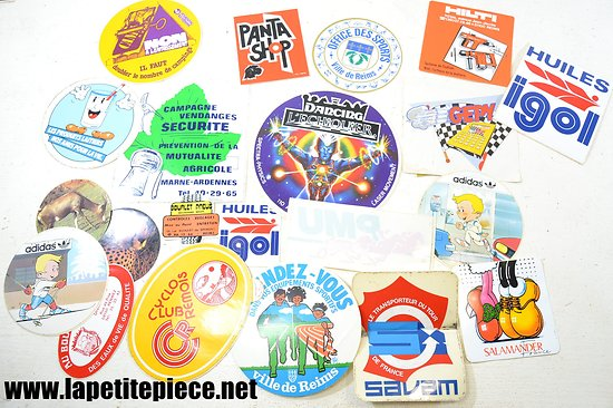 Lot autocollants publicitaires années 1970
