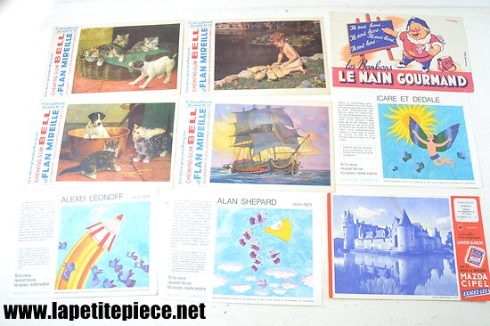 Lot buvards - Alcoolisme, le nain gourmand, Chewing gum Bell et flan Mireille...