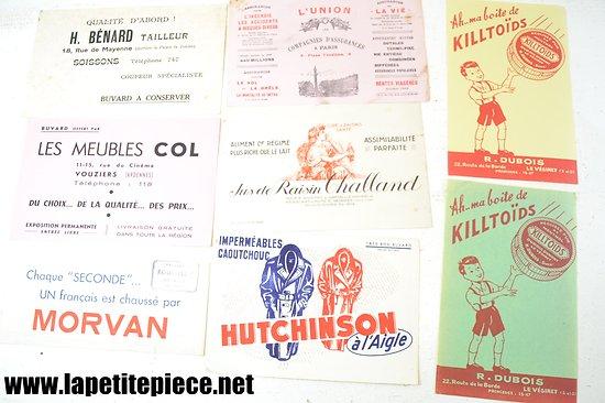 Lot buvards - Morvan, Hutchinson,  Jus de raisin Challand, Meubles Col, Killtoïds...