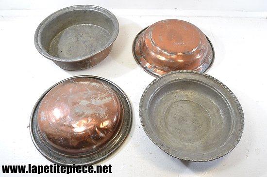 Série de plats / moules en cuivre rouge étamé, fin 19e Siècle.