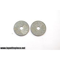 10 centimes 1944 et 1943 Etat Français