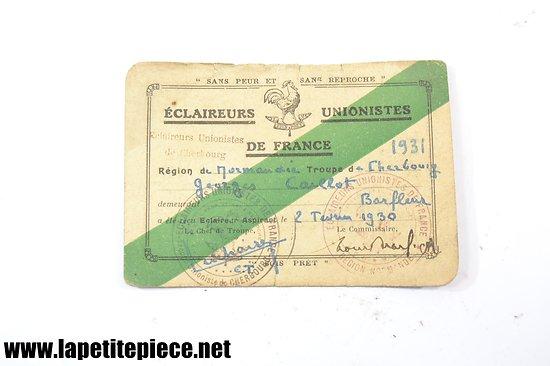 Carte des éclaireurs unionistes de France 1931 - Normandie, troupe de Cherbourg