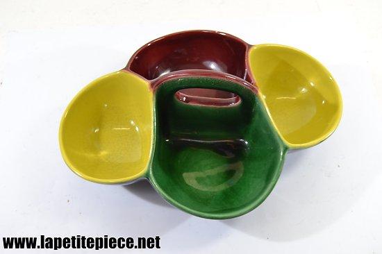 Plat service apéritif années 1960 - 1970. Céramique multi-couleurs