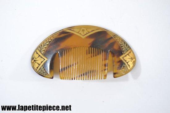 Peigne à cheveux années 1930. Rhodoïd motifs dorés