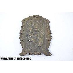 Reliquaire en métal argenté Vierge et enfant - milieu 20e Siècle