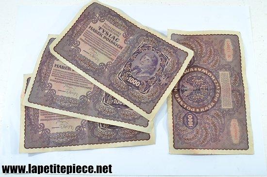Billet x 4 Polonais 1919  Pologne 1000 Marek Tadeusz Kosciuszko