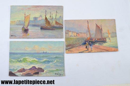 Lot trois peintures à l'huile sur carton