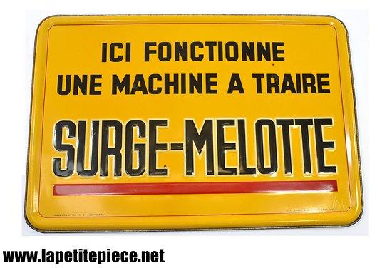 """Plaque litho """"ici fonctionne une machine à traire SURGE-MELOTTE"""""""