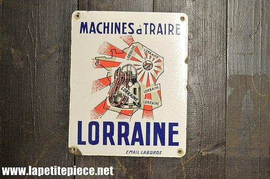 Plaque émaillée Machines à traire LORRAINE - Email Laborde
