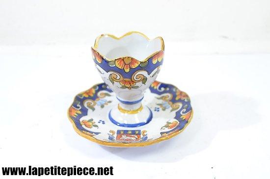 Coquetier céramique décor Rouen signée JULES VERLINGUE (V.J.)
