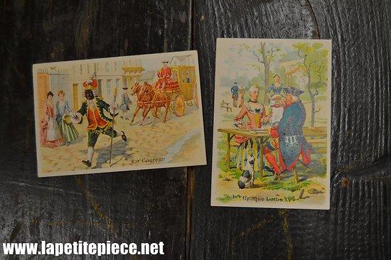 Deux cartes publicitaires A la Ville de Sézanne, Maison Theuveny Mattret Touzon. Chromos
