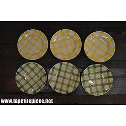 Lot de 6 assiettes creuses Orchies Moulin des Loups, décor nappe, vert et jaune.