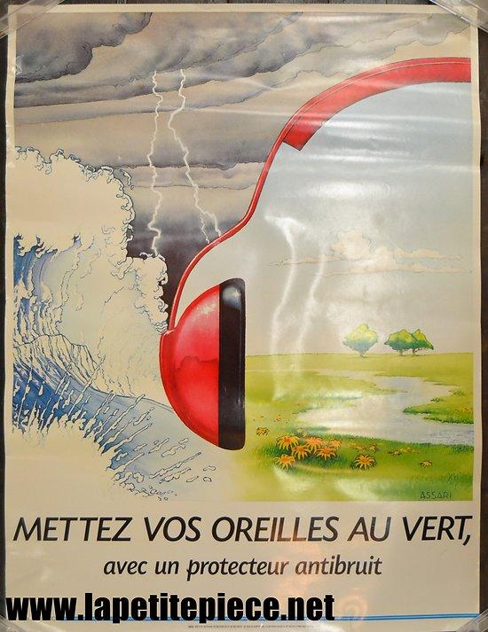 Affiche INRS 1990 par ASSARI - Mettez vos oreilles au vert