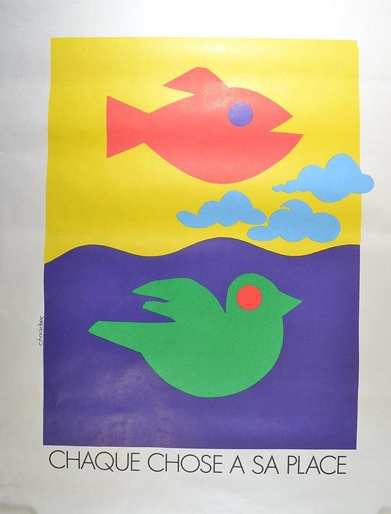 Affiche INRS 1991 par Chadebec - chaque chose à sa place