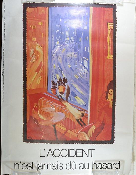 Affiche INRS 1988 signée FM - l'accident n'est jamais du au hasard