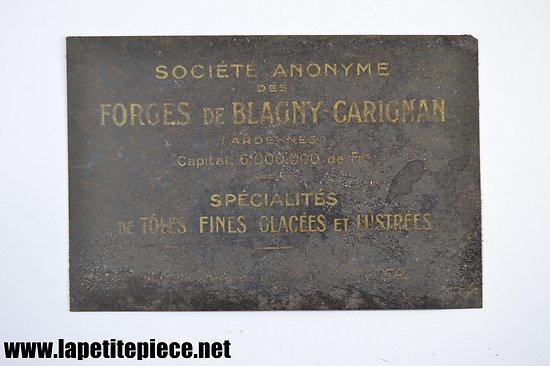 Carte de visite tôle Société anonyme des Forges de Blagny Carignan (Ardennes) début 20e Siècle