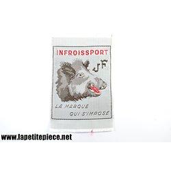Etiquette de vêtement Infroissport JF tête de sanglier. Années 1950 - 1970.
