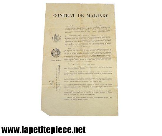 Contrat de mariage humoristique années 1930