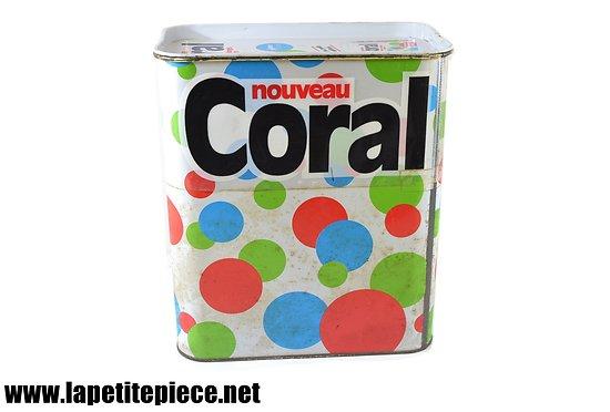 Boite de lessive CORAL métal, années 1980.