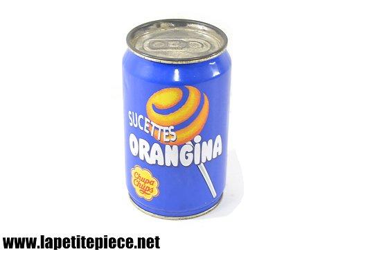Boite canette Orangina sucettes chupa chups. Années 1990