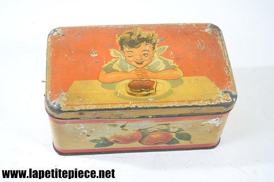 Boite à biscuits / chocolats en tôle lithographiée, début 20e Siècle. Oranges GFS. Enfant