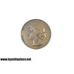 Médaille de bronze femme laurée couronne de blés. Agriculture