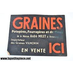Carton publicitaire Graines de la maison André Millet à Beauraing, importateur Vilmorin. Belgique