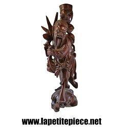 Statue sculpté en palissandre, décor asiatique
