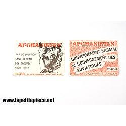 Lot de deux autocolants contre la Guerre en Afghanistan années 1980