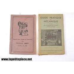 Guide pratique de mécanique 1946 et Manuel Moteurs JAPY type T110 1952