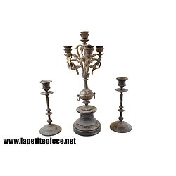 Garniture de cheminée / candélabre et chandeliers