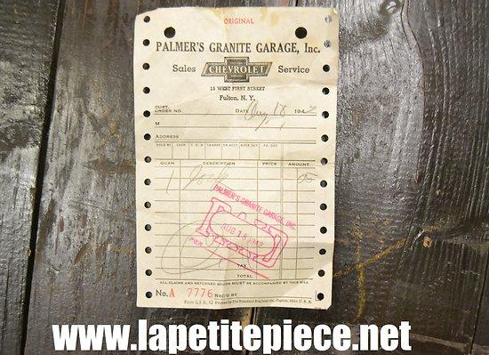 Facture Chevrolet 1942 - Palmer's Granite Garage Inc. 15 west First Street FULTON (USA)