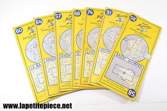 Lot de cartes Michelin années 1957 - 1960