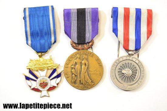 Lot trois médailles chemins de fer