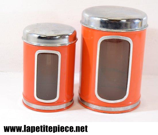 Pots en métal orange, années 1960 - 1970