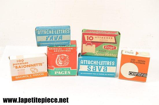 Lot d'attaches / matériel de bureau années 1950 - 1970.