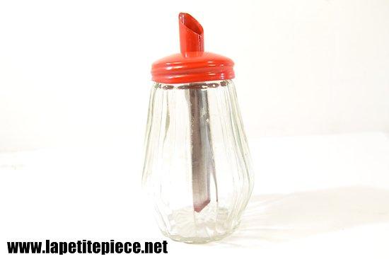 Sucrier verre - métal rouge années 1960 - 1970