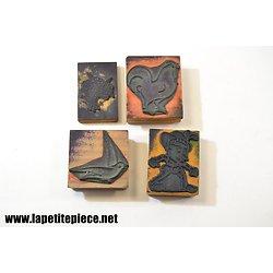 Lot de 4 timbres éducatifs - Oiseaux, fleurs, pinocchio