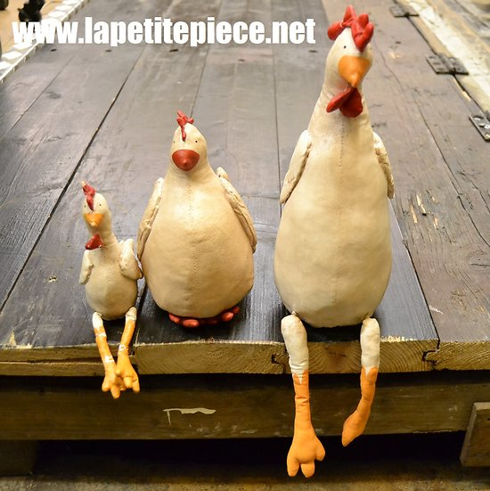 Lot 3 poules décoratives en cuir