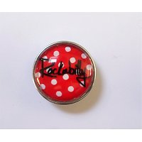 Clip Rockabilly Pois Blancs fond Rouge