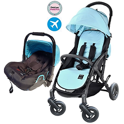 "Pack Duo COSY Trinity 2 ""CROSS"" Poussette roues GOMME XXL TOUT TERRAIN + Cosy auto"