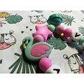 Anneau de dentition flamant en rose /vert et sa clochette assortie - jouet enfant - cadeau de naissance
