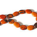 3 perles d'agate veinée et marbrée brun orangé 18x13mm