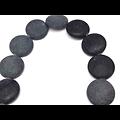 3 perles bouton en jaspe naturel noir et mat 16x6mm