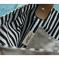 Tote bag en lin argenté, intérieur rayures et anses cuir