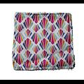 """Carré lingette """"Eventails multicolores"""" en coton et éponge de bambou bio ivoire"""