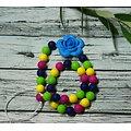 Collier d'allaitement multicolore à la rose turquoise